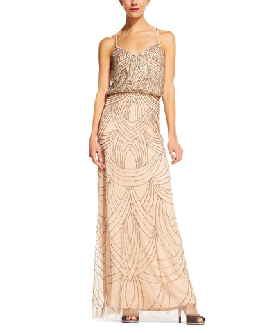 Adrianna Papell Beaded Blouson Gown in Taupe Pink