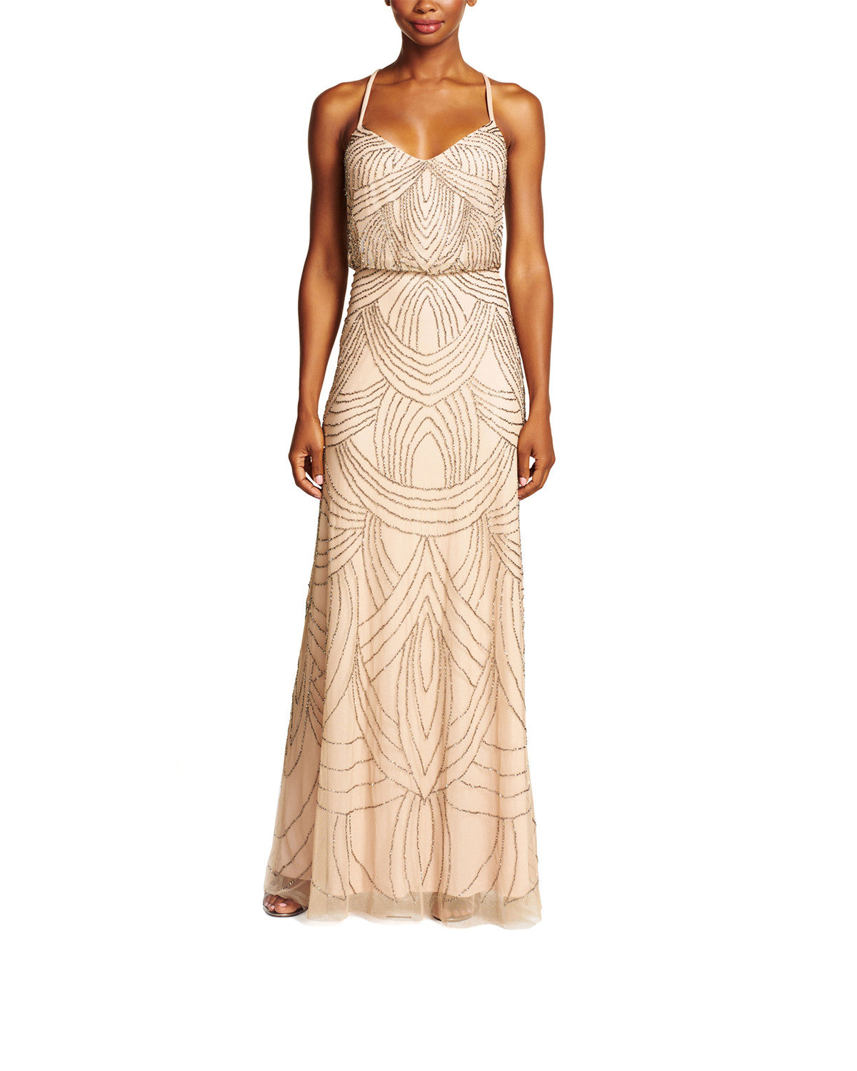 Adrianna Papell Beaded Blouson Gown in Taupe Pink - Sample