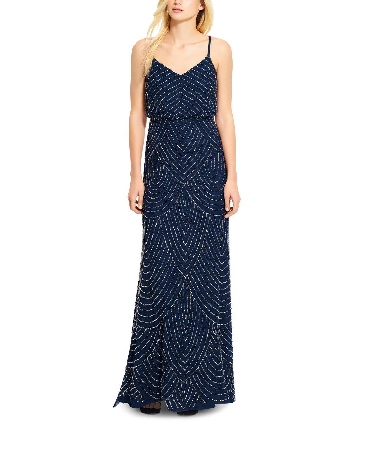 Adrianna Papell Art Deco Beaded Blouson Gown in Navy
