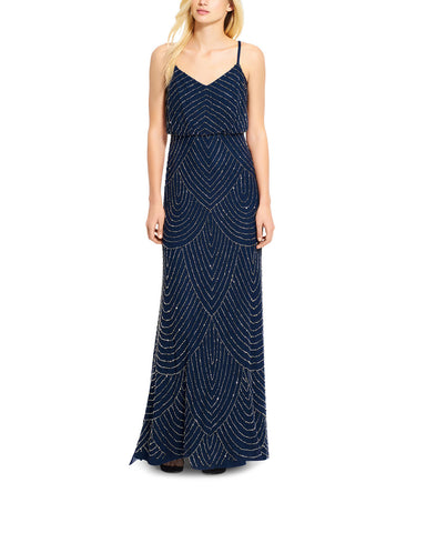 Adrianna Papell Art Deco Beaded Blouson Gown in Navy - Sample