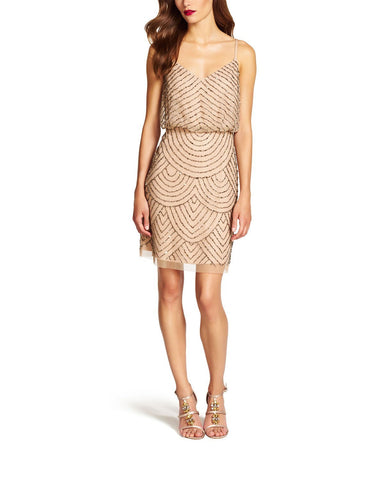 Adrianna Papell Sequin Blouson Dress in Taupe Pink Beading- Front