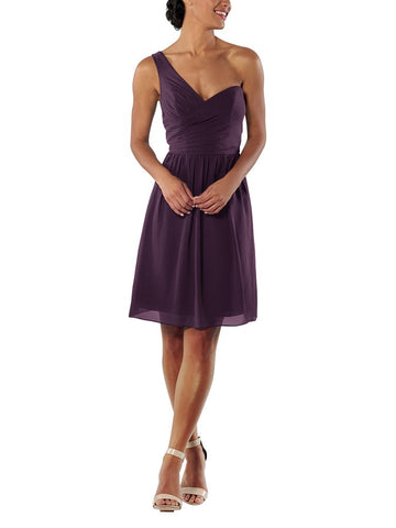 Brideside Amy Cocktail Bridesmaid Dress in Eggplant - Front