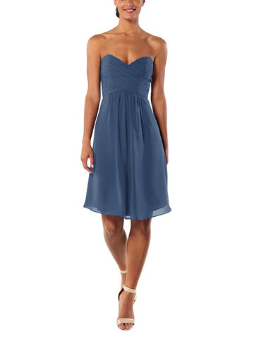 Brideside Charlotte Cocktail Bridesmaid Dress in Moonstone - Front