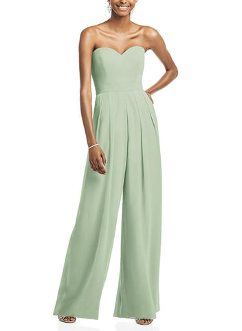Dessy Bridesmaid Jumpsuit Style 3065 in Celadon - Front