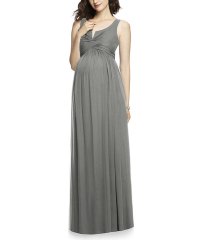 After Six Maternity Style M424 in Charcoal Gray - Front
