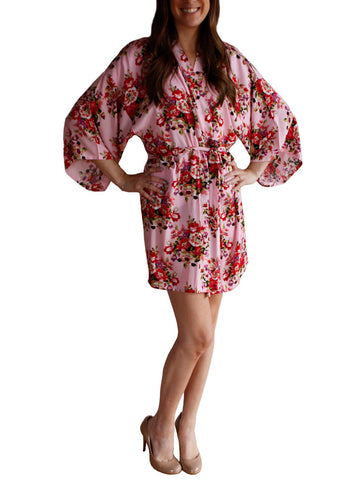 Light Pink Cotton Floral Robe