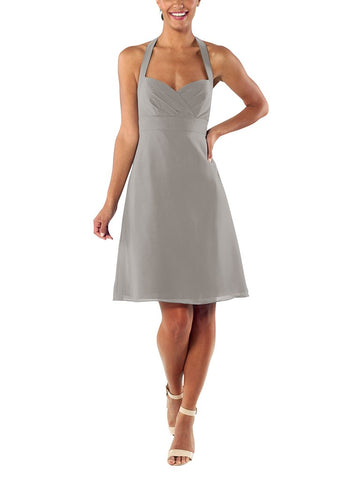 Brideside Minnie Cocktail Bridesmaid Dress in Earl Grey - Front