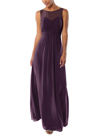 Brideside Monica Bridesmaid Dress in Eggplant - Front