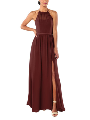 Brideside Samantha Bridesmaid Dress in Pinot - Front