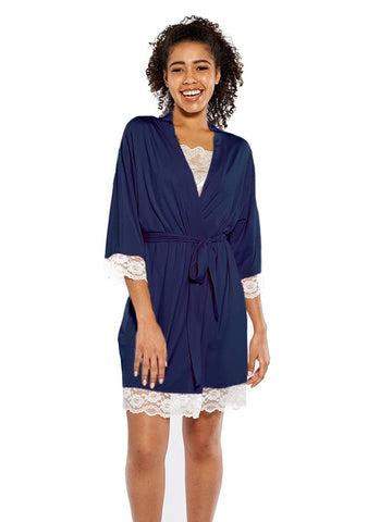 Soft Jersey Robe in Navy