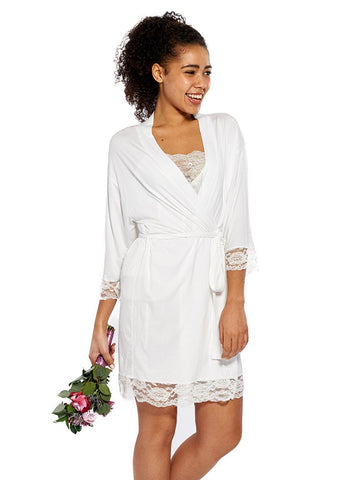 Soft Jersey Robe in White
