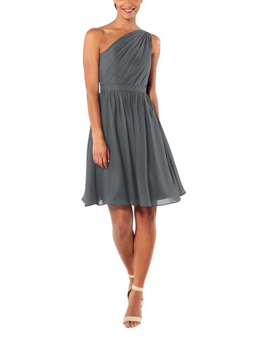 Brideside Tina Cocktail Bridesmaid Dress in Charcoal - Front