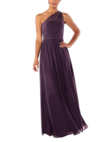 Brideside Tina Bridesmaid Dress in Eggplant - Front