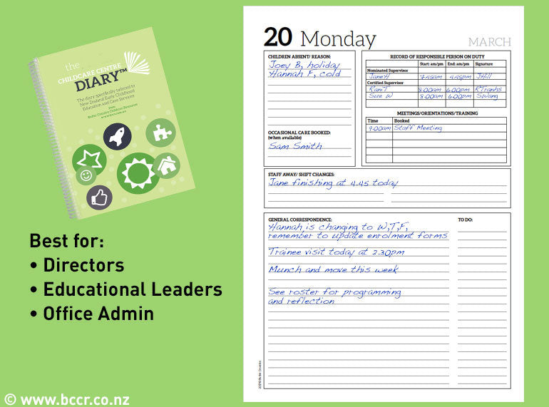 PREORDER 2020 New Zealand Childcare Centre Diary - Butler Creative Childcare Resources New Zealand