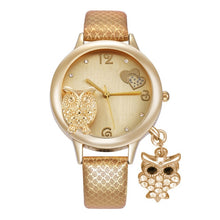 Load image into Gallery viewer, Owl Pendant Rhinestone Watch