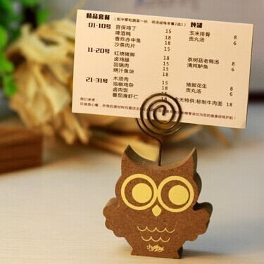 Wooden Owl Photo Clip Holder