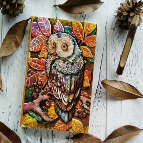 Colorful Owl-Embossed Notebook