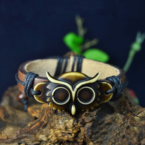 Punk Owl Leather Bracelet