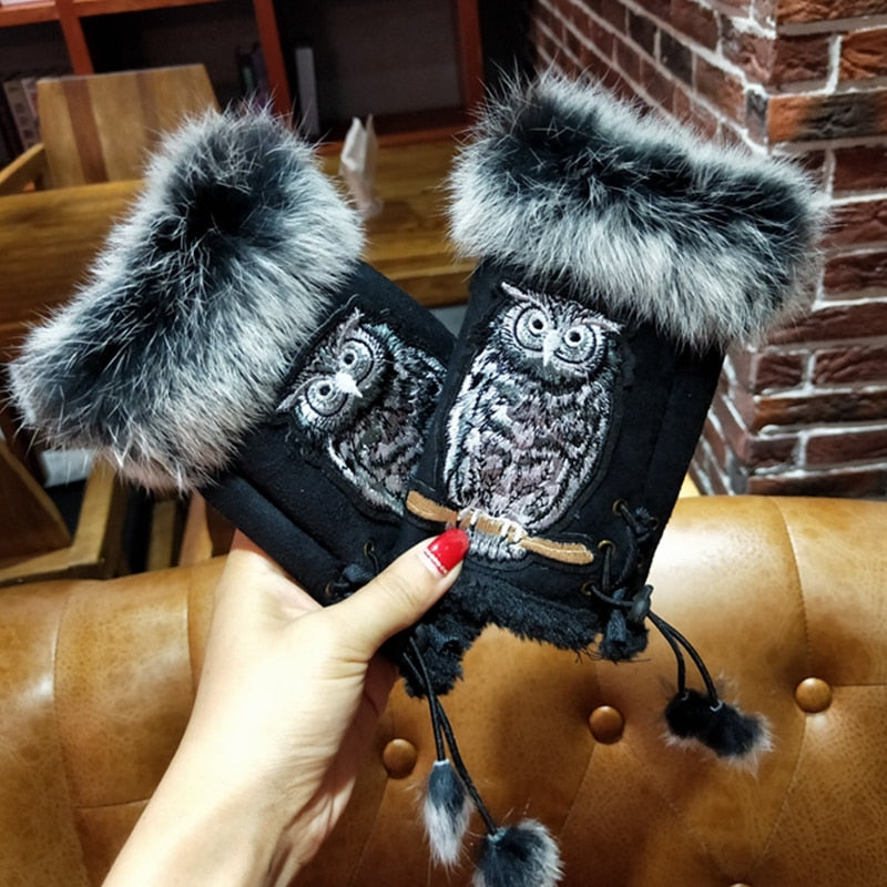 Embroidery Owl Winter Gloves