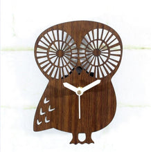 Load image into Gallery viewer, Wooden Owl Wall Clock