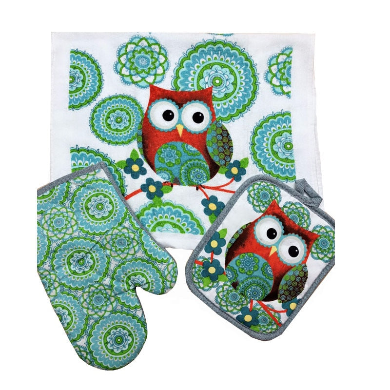 Cotton Owl Design Gloves
