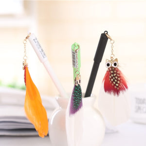 Owl Feather Pendant Gel Pen