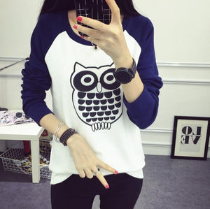 Long Sleeve Owl Pattern T-shirt