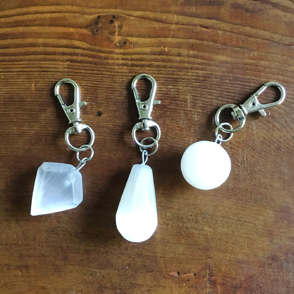 Selenite Charms with Swivel Clasps