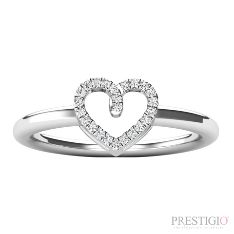 10k White Gold .08ctw Diamond Heart Fashion Ring