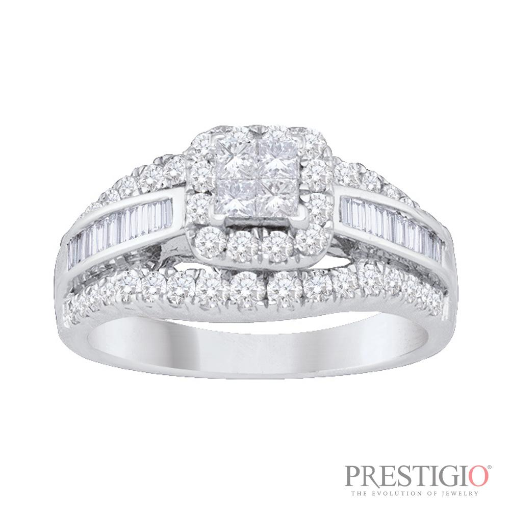 14K White Gold 1.00cttw Diamond Fashion Ring