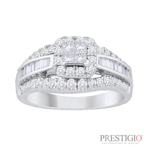 14K White Gold 1.00cttw Diamond Fashion Ring - prestigiojewelers