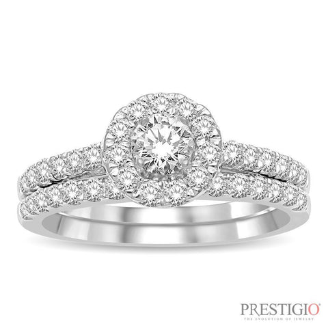 10K White Gold 1.00cttw Diamond Wedding Set