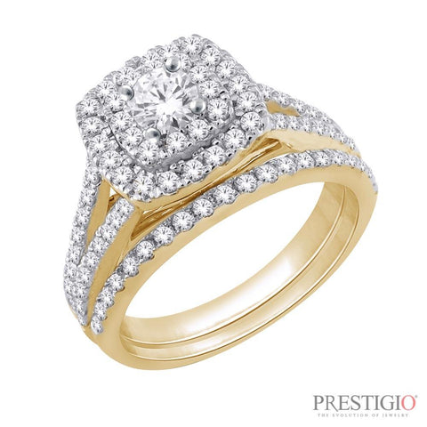 14K Yellow Gold 1.00cttw Diamond Wedding Set