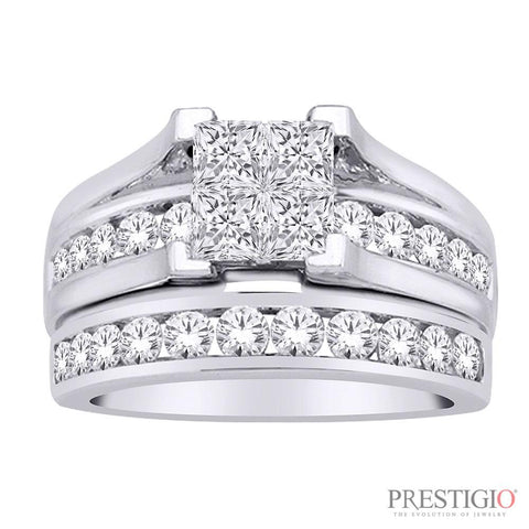 14K White Gold 2.00cttw Diamond Wedding Set