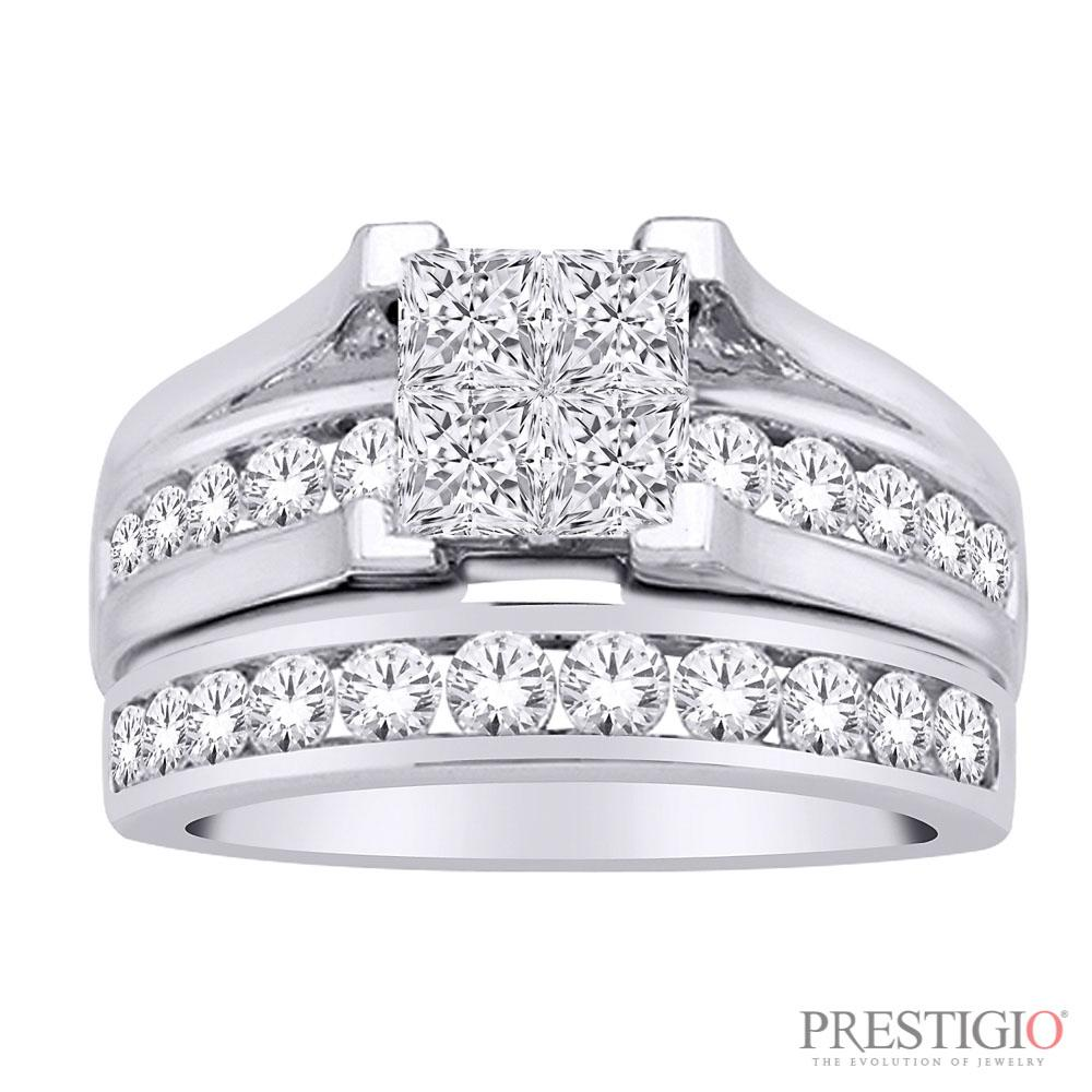14K White Gold 3.00cttw Diamond Wedding Set
