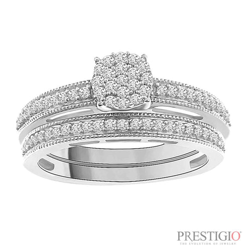 Sterling Silver .33cttw Diamond Wedding Set - prestigiojewelers