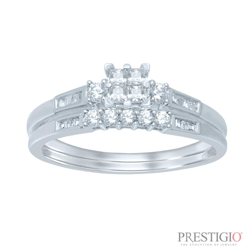 10K White Gold .50cttw Diamond Wedding Set