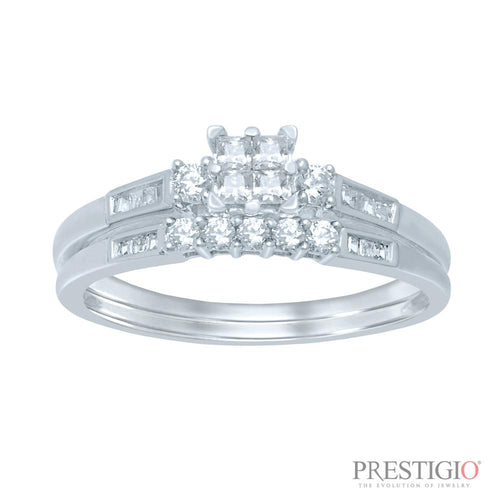 10K White Gold .50cttw Diamond Wedding Set - prestigiojewelers