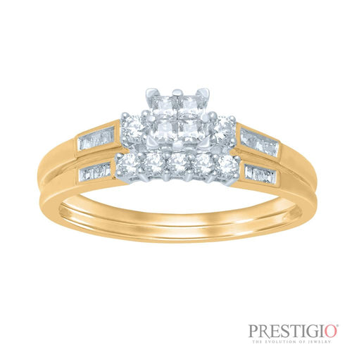 10K Yellow Gold .50cttw Diamond Wedding Set - prestigiojewelers