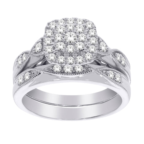 10k White Gold .50ctw Diamond Wedding Set