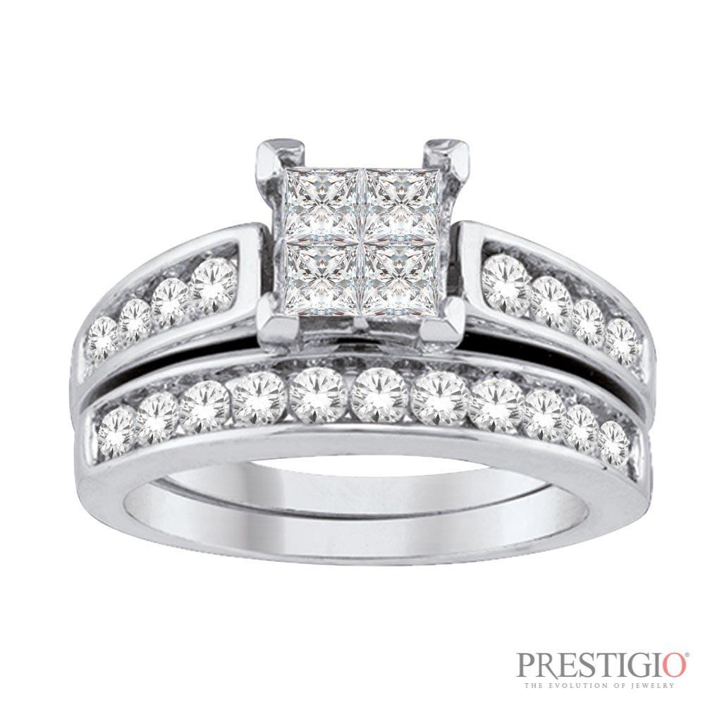 14K WG 2.00cttw Diamond Wedding Set