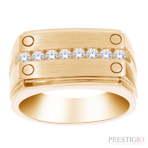 10k Yellow Gold .35ctw Diamond Gents Ring