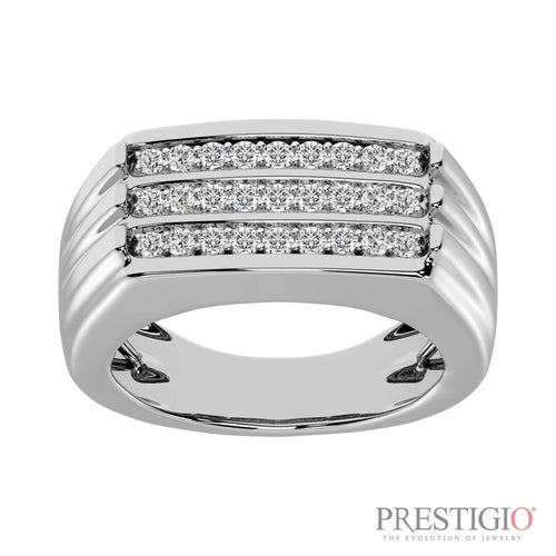 10K White Gold .50cttw Diamond Gents Band - prestigiojewelers