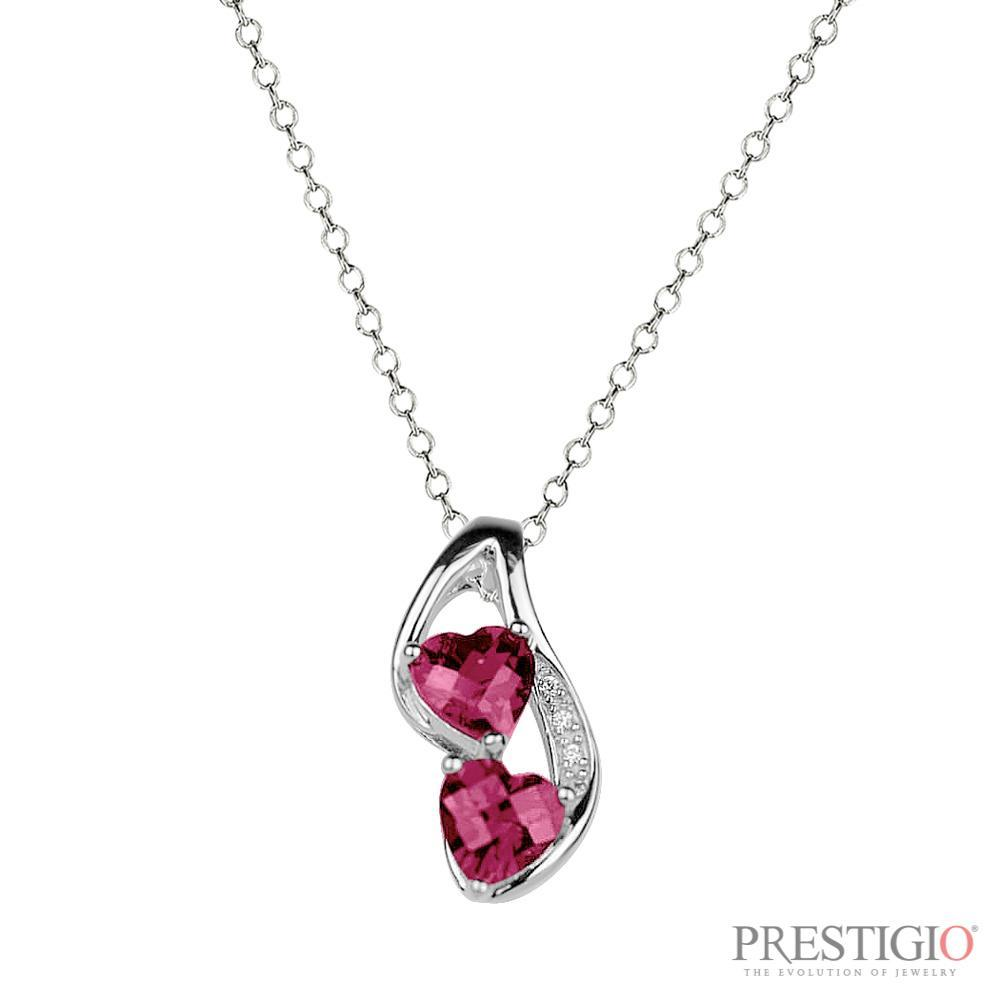 Sterling Silver Created Ruby & Diamond Pendant