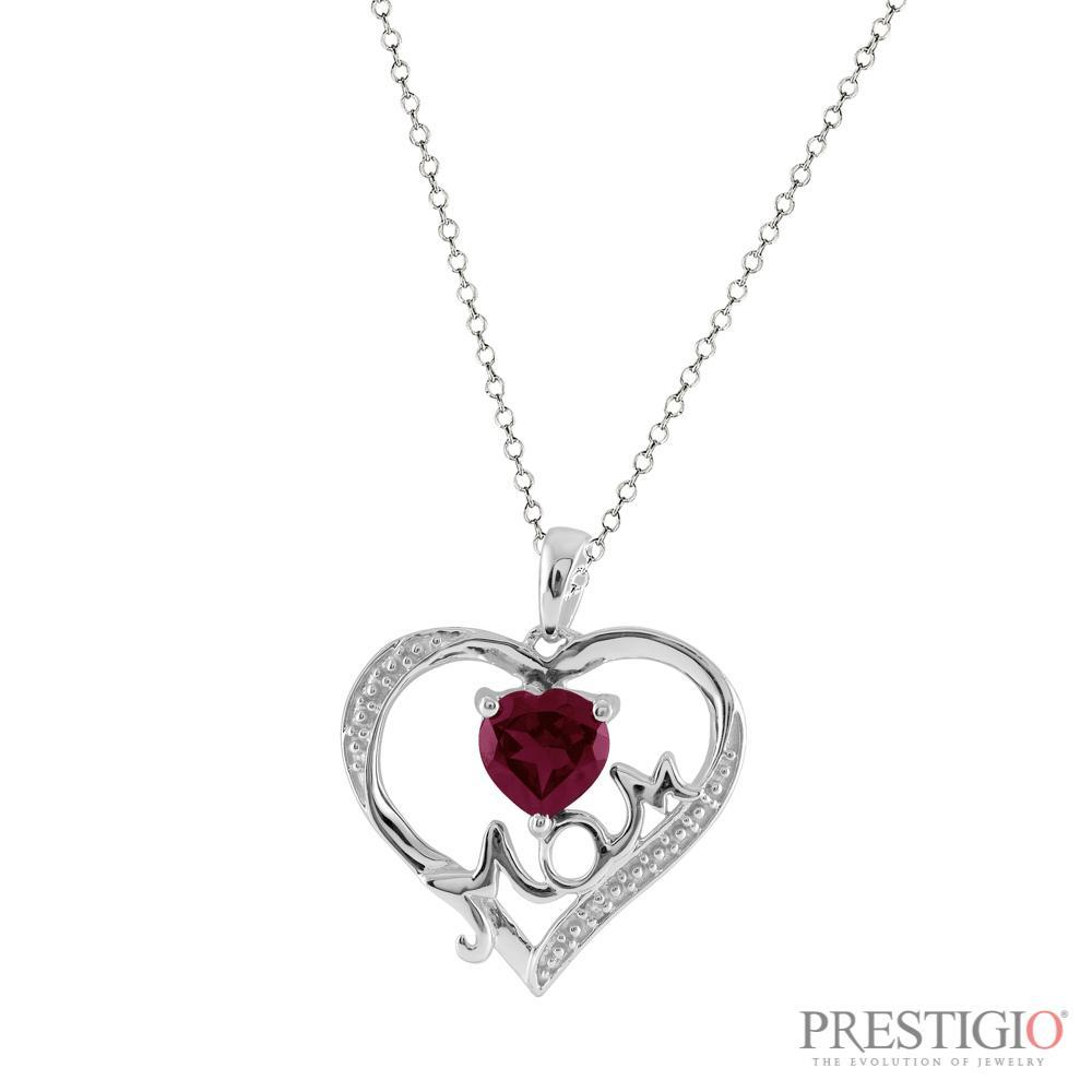Sterling Silver Garnet & Diamond Mom Pendant