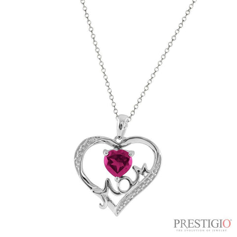 Sterling Silver Created Pink Stone & Diamond Mom Pendant
