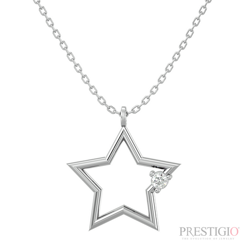 Sterling Silver .05ctw Diamond Star Pendant