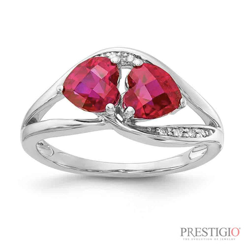 Sterling Silver Created Ruby & Diamond Ring - prestigiojewelers