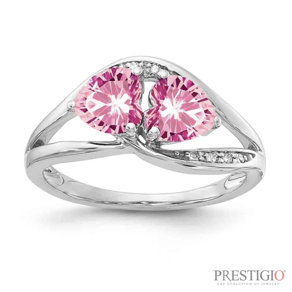 Sterling Silver Created Pink Sapphire & Diamond Ring