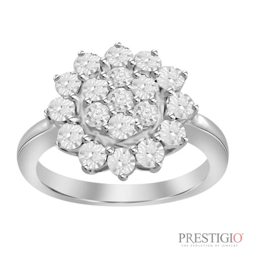 Sterling Silver .03cttw Diamond Fashion Ring - prestigiojewelers